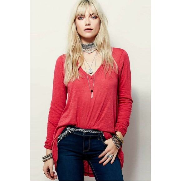 Free People We The Free Anna Tee V-Neck T-Shirt